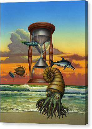 Evolution - Extinct Wildlife - Early Sea Life - Prehistoric Sea Creatures - Fossils - Cephalopods Canvas Print by Walt Curlee