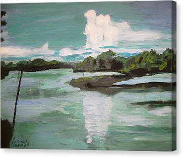 Canvas Print featuring the painting Dawn Breaks On Jong River Mattru Sierra Leone by Mudiama Kammoh