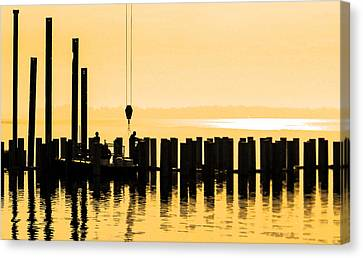 Dawn Dock Work Canvas Print