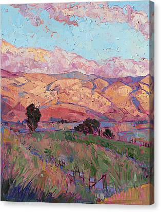 Canvas Print featuring the painting Dawn Hills - Left Panel by Erin Hanson