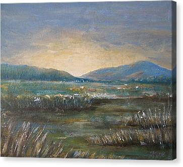 Canvas Print featuring the painting Dawn by Jane  See