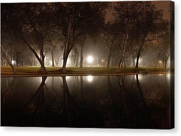 Dawn Mist Rising At Sycamore Pool  Canvas Print by Abram House