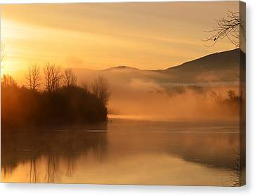 Dawn On The Kootenai River Canvas Print by Annie Pflueger