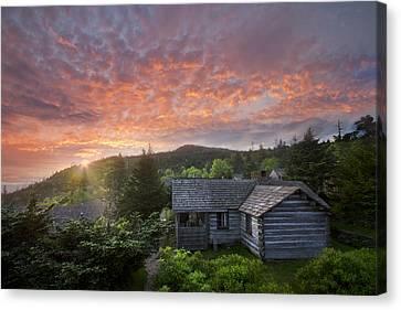Tn Barn Canvas Print - Dawn Over Leconte by Debra and Dave Vanderlaan