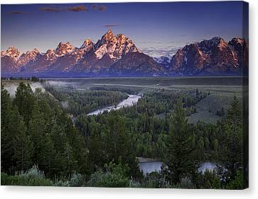 Dawn Over The Tetons Canvas Print by Andrew Soundarajan