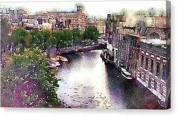 Canvas Print featuring the photograph Dawn Rain Amsterdam by Susan Maxwell Schmidt