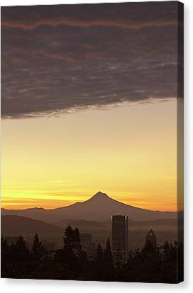Dawn Sky Over Portland And Mt Canvas Print by William Sutton