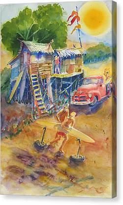 Dawnbeachshaping Canvas Print