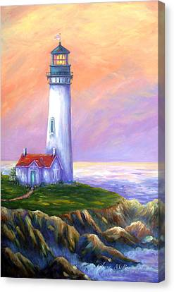 Dawn's Early Light Yaquina Head Lighthouse Canvas Print by Glenna McRae