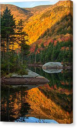 Canvas Print featuring the photograph Dawns Foliage Reflection by Jeff Folger