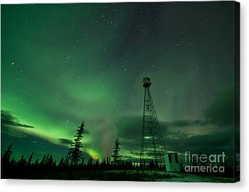 Dawson City Fire Lookout Tower With Northern Lights Canvas Print