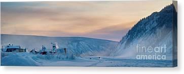 Dawson City Ice Bridge Canvas Print by Priska Wettstein