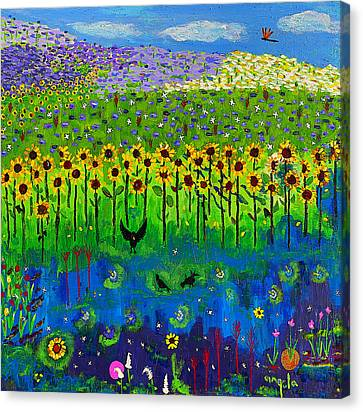 Day And Night In A Sunflower Field I  Canvas Print by Angela Annas