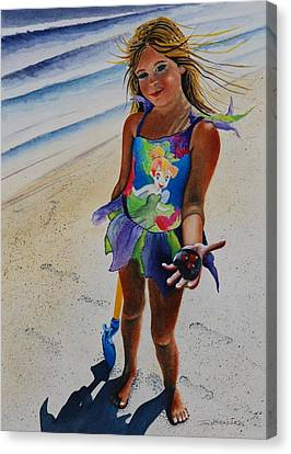 Day At The Beach Canvas Print by Joy Bradley