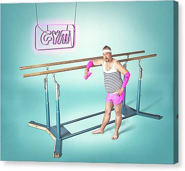 Confidence Men Canvas Print - Day At The Gym by Petri Damst?n