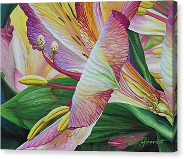 Canvas Print featuring the painting Day Lilies by Jane Girardot