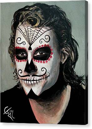 Day Of The Dead - Heath Ledger Canvas Print by Tom Carlton