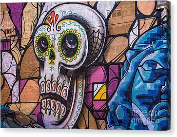 Canvas Print featuring the mixed media Day Of The Dead Mural by Terry Rowe