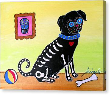 Dia De Los Muertos Canvas Print - Day Of The Dead Pug by Pristine Cartera Turkus