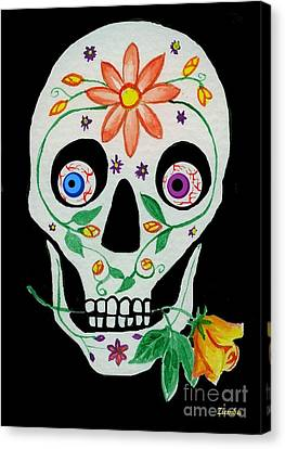 Day Of The Dead Skull 1 Canvas Print by Lori Ziemba