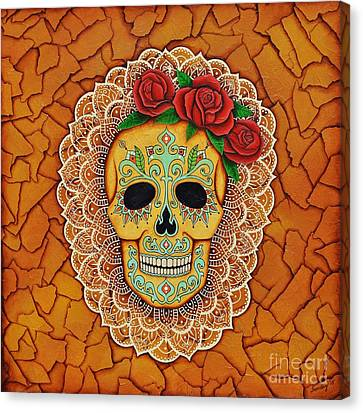 Day Of The Dead With Roses And Lace Canvas Print by Joseph Sonday