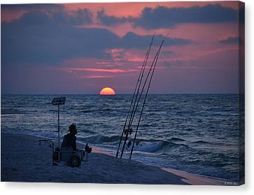 Daybreak On Navarre Beach With Deng The Fisherman Canvas Print by Jeff at JSJ Photography