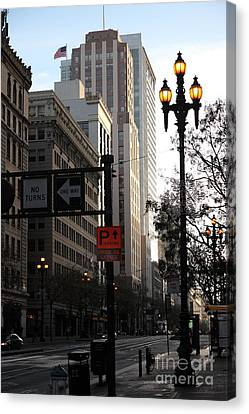 Daybreak Over San Francisco Market Street - 5d20613 Canvas Print by Wingsdomain Art and Photography