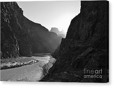 Scenics Canvas Print - Daybreak Over The Colorado River Along Bright Angel Trail Grand Canyon National Park Black And White by Shawn O'Brien