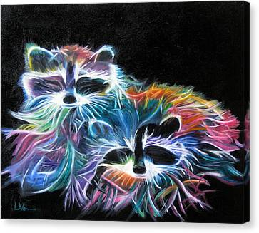 Canvas Print featuring the painting Dayglow Raccoons by LaVonne Hand