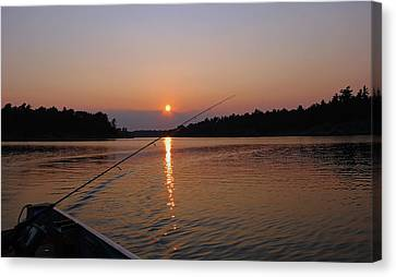 Canvas Print featuring the photograph Sunset Fishing by Debbie Oppermann