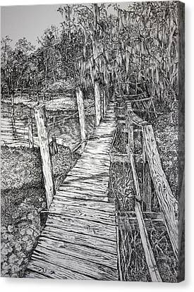 Florida Bridge Canvas Print - Days Gone By by Janet Felts