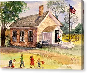 Old School Houses Canvas Print - Days Gone By by Marilyn Smith