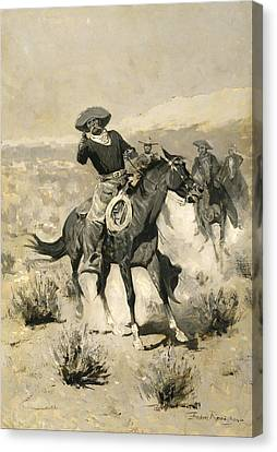 Days On The Range Canvas Print by Frederic Remington