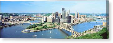 Daytime Skyline With The Delaware Canvas Print by Panoramic Images