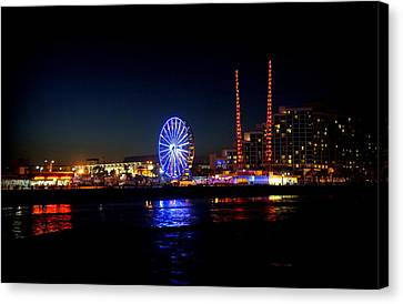 Canvas Print featuring the photograph Daytona At Night by Laurie Perry
