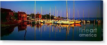Daytona Beach Florida Inland Waterway Private Boat Yard With Bird   Canvas Print