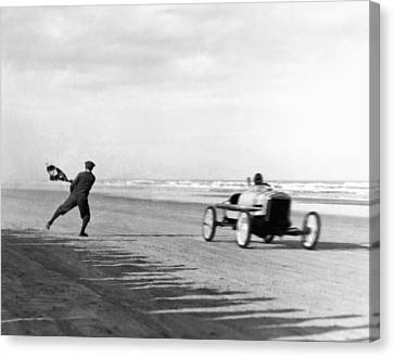 Two Waves Canvas Print - Daytona Beach New Year's Races by Underwood Archives