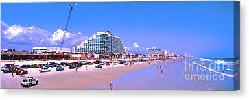 Canvas Print featuring the photograph Daytona Main Street Pier And Beach  by Tom Jelen