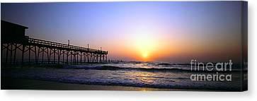 Canvas Print featuring the photograph Daytona Sun Glow Pier  by Tom Jelen