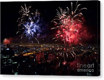 Dazzling Fireworks II Canvas Print by Ray Warren