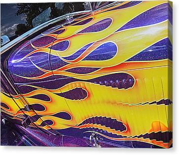 Dazzling Flames - Vintage Hot Rod Canvas Print by Gill Billington