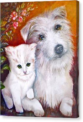 Canvas Print featuring the painting Db And  Some Sugar by Patricia Schneider Mitchell