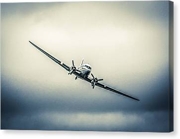 Transportion Canvas Print - Dc-3 In Dark Skies by Chris Smith