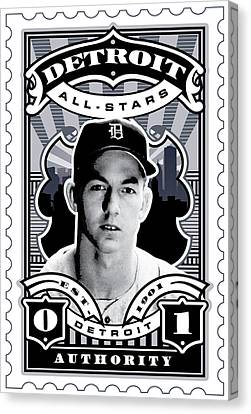 Dcla Al Kaline Detroit All-stars Finest Stamp Art Canvas Print by David Cook Los Angeles