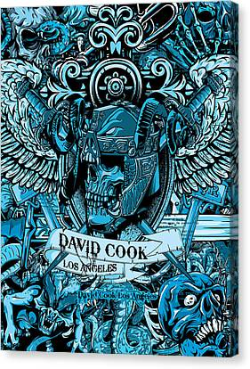 Dcla Designed Skull Heaven And Hell Artwork 7 Canvas Print by David Cook Los Angeles