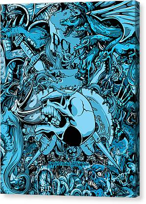 Dcla Designed Skull Hell On Earth Artwork 6 Canvas Print by David Cook Los Angeles