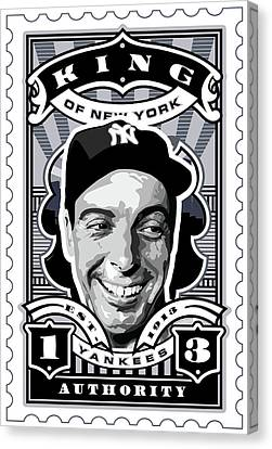 Dcla Joe Dimaggio Kings Of New York Stamp Artwork Canvas Print by David Cook Los Angeles