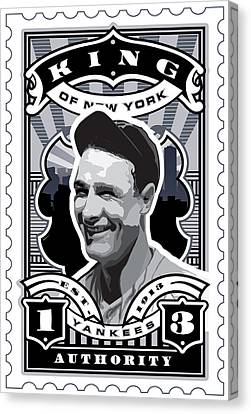 Dcla Lou Gehrig Kings Of New York Stamp Artwork Canvas Print by David Cook Los Angeles