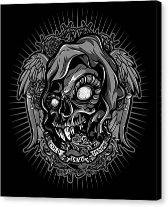 Dcla Skull Cold Dead Hand Gray 3 Canvas Print by David Cook Los Angeles