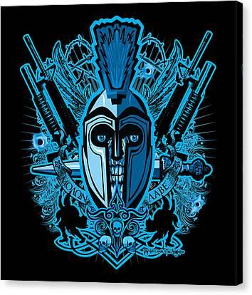 Dcla Skull Spartan Marine Molan Labe Canvas Print by David Cook Los Angeles